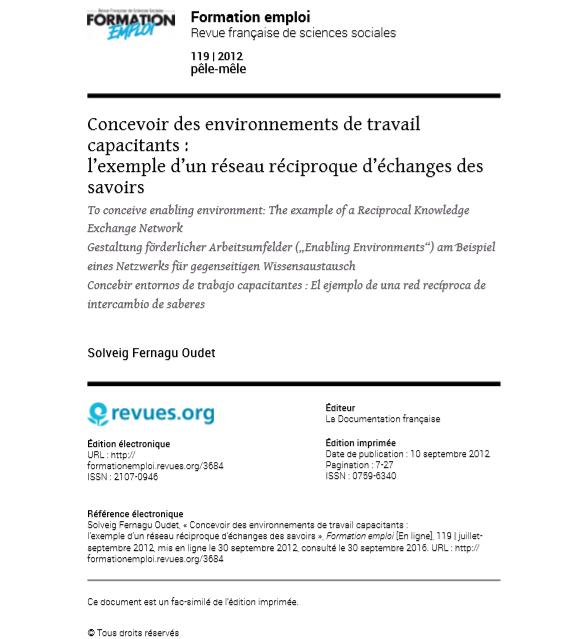 « Concevoir des environnements de travail capacitants : L'exemple d'un réseau réciproque d'échanges des savoirs »